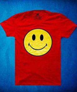 সলিড লাল Smile ডিজাইন গোল গলা হাফ হাতা কটন টি-শার্ট ফর জেন্টস