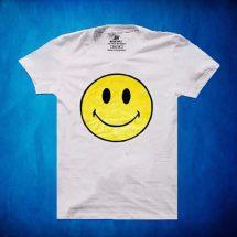 সাদা Smile ডিজাইন গোল গলা হাফ হাতা কটন টি-শার্ট ফর জেন্টস