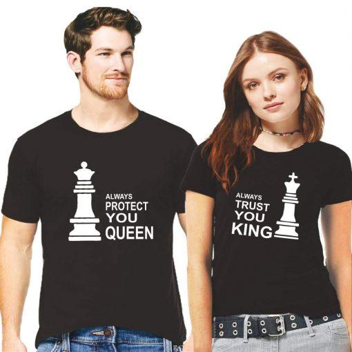 সলিড কালো কালার Always Protect You Queen Always Trust You King ডিজাইন হাফ হাতা কাপল টি-শার্ট