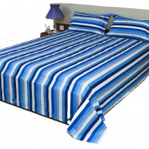 সাদা নীল চেক প্রিন্টেড ২ পিছ বালিশের কাভার সহ বিছানার চাদর BS2488