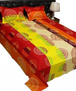 মাল্টি কালার ২ পিছ বালিশের কাভার সহ কিং সাইজ প্রিন্টেড বিছানার চাদর BS2508