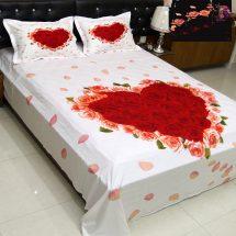 সাদা-লাল LOVE প্রিন্টেড ২ পিছ বালিশের কাভার সহ বিছানার চাদর BS2521