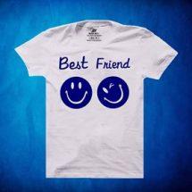 সাদা Best Friend ডিজাইন গোল গলা হাফ হাতা কটন টি-শার্ট ফর জেন্টস