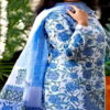 মাল্টি কালার আনস্টিচড হ্যান্ড ব্লক প্রিন্ট কটন থ্রী-পিস