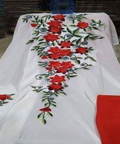 ইন্ডিয়ান সাদা ওয়েটলেস জর্জেট এমব্রয়ডারি কারচুপি কামিজ