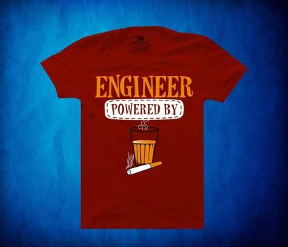 Engineer Powered By প্রিন্টেড গোল গলা হাফ হাতা কটন টি-শার্ট ফর জেন্টস