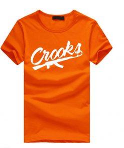 কমলা কালার হাফ হাতা Crooks প্রিন্টেড কটন টি শার্ট ফর জেন্টস 00112