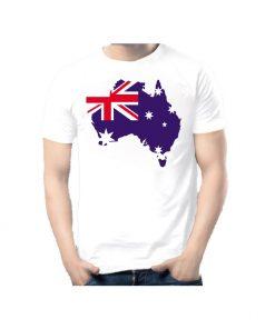 ছেলেদের সাদা এক্সপোর্ট কোয়ালিটি Australian Flag প্রিন্টেড কটন টি শার্ট 00113