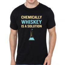 ছেলেদের কালো Chemically Whiskey Is A Solution প্রিন্টেড গোল গলা কটন টি-শার্ট 00120