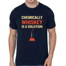 ছেলেদের নেভি বুলু Chemically Whiskey Is A Solution প্রিন্টেড গোল গলা কটন টি শার্ট 00121