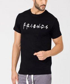 জেন্টস কালো FRIENDS প্রিন্টেড গোল গলা কটন টি শার্ট 00130