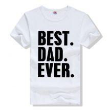 জেন্টস সাদা Best Dad Ever প্রিন্টেড গোল গলা কটন টি শার্ট 00152