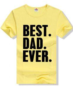 জেন্টস হলুদ Best Dad Ever প্রিন্টেড গোল গলা কটন টি শার্ট 00157