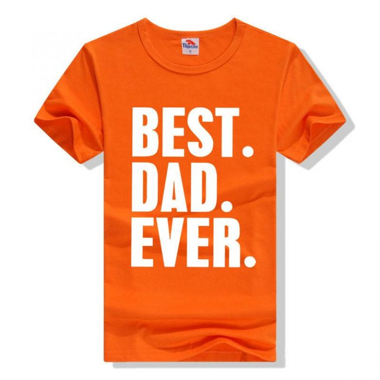 জেন্টস কমলা Best Dad Ever প্রিন্টেড গোল গলা কটন টি শার্ট 00158
