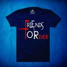 ছেলেদের নীল Friends Forever প্রিন্টেড গোল গলা হাফ হাতা কটন টি শার্ট