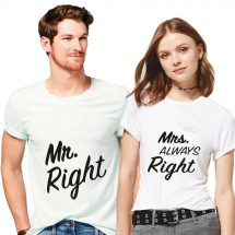 সলিড সাদা Mr and Mrs Right প্রিন্টেড কাপল টি শার্ট