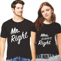 Mr and Mrs Right প্রিন্টেড হাফ হাতা কটন কাপল টি শার্ট