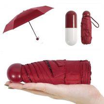 মেরুন ফোল্ডিং Umbrella With ক্যাপসুল Case