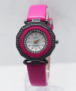 Womens Rolex Pink Leather রিস্ট ওয়াচ
