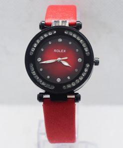 মেয়েদের লাল Rolex Black Dial রিস্ট ওয়াচ