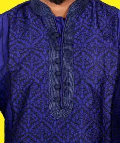 ছেলেদের নীল স্টাইলিশ ফুল হাতা চিকেন ফেব্রিক ইন্ডিয়ান পাঞ্জাবি