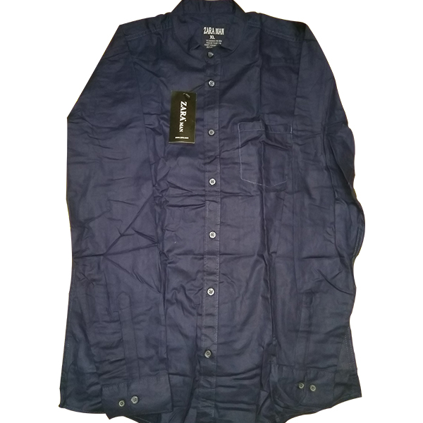 Navy Blue Long Sleeve Cotton Casual Shirt for Men