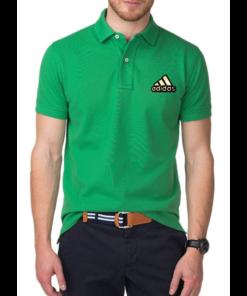 জেন্টস সবুজ Adidas লোগো হাফ হাতা কটন পোলো শার্ট