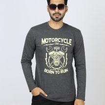 জেন্টস ধূসর Motorcycle ডিজাইন ফুল হাতা ক্যাজুয়াল কটন টি শার্ট