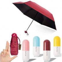 Mini Folding Umbrella with Cute Capsule Case