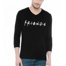 কালো কালার ভি গলা Friends ডিজাইন কটন টি শার্ট ফর জেন্টস