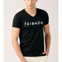 কালো কালার Friends ভি গলা প্রিন্টেড কটন টি শার্ট ফর জেন্টস