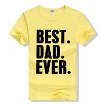 বাসন্তি কালার BEST DAD EVER প্রিন্টেড গোল গলা কটন টি শার্ট