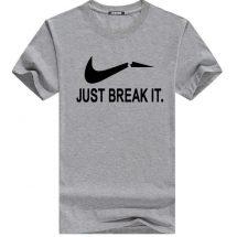 Just Break It ধূসর স্টাইলিশ কটন গোল গলা টি শার্ট