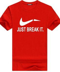 Just Break It লাল স্ট্রিচ কটন গোল গোলা টি শার্ট