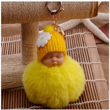 Fluffy Pom Pom বেবি ডল Sleeping Key Chains
