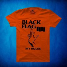 জেন্টস BLACK FLAG প্রিন্টেড হাফ হাতা কটন টি শার্ট