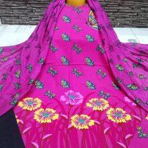 আকর্ষনীয় আনস্টিচড পিংক কালার স্ক্রীন প্রিন্টেড কটন সেলওয়ার কামিজ