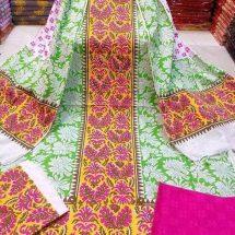 মেয়েদের আকর্ষনীয় আনস্টিচড মাল্টি স্ক্রীন প্রিন্টেড কটন সেলওয়ার কামিজ