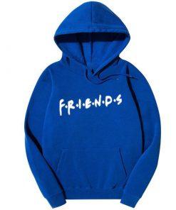 নীল Friends প্রিন্টেড ক্যাজুয়াল কটন হুডি ফর জেন্টস