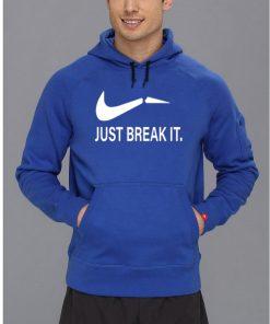গাড় নীল Just Break It ডিজাইন কটন হুডি ফর জেন্টস