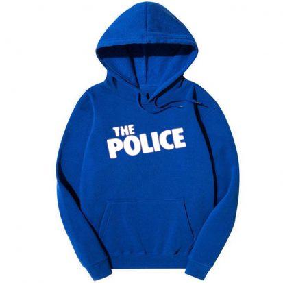স্টাইলিশ নীল The Police ডিজাইন কটন হুডি ফর জেন্টস