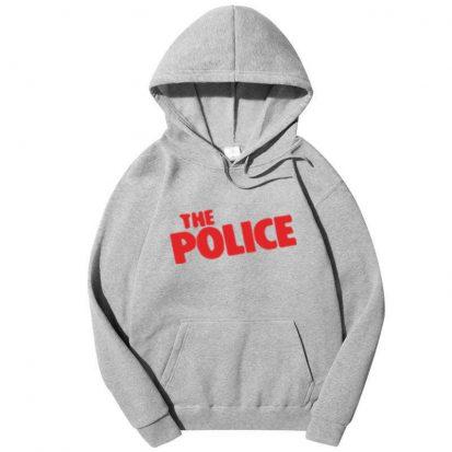 স্টাইলিশ ধূসর The Police ডিজাইন কটন হুডি ফর জেন্টস