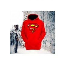 Superman প্রিন্টেড লাল মেনজ কটন হুডি
