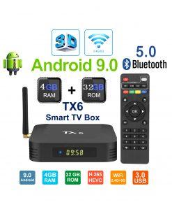 4K স্মার্ট অ্যান্ড্রয়েড TX6 টিভি বক্স সেট (4জিবি)
