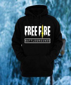 কালো স্টাইলিশ Free Fire ডিজাইন ফুল হাতা কটন হুডি ফর মেনজ