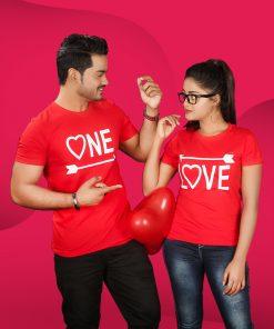 ONE LOVE ভ্যালেন্টাইন স্পেশাল হাফ হাতা কটন টি শার্ট