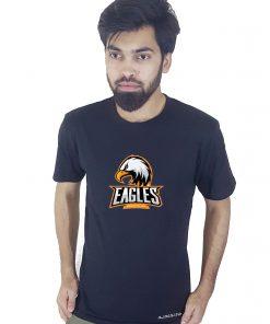সলিড নেভি ব্লু Eagles প্রিন্টেড গোল গলা জেন্টস টি শার্ট