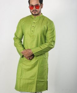 জলপাই কালার ইন্ডিয়ান কটন সেমি লং পাঞ্জাবি