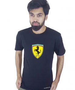 Ferrari SPA প্রিন্টেড রাওন্ড নেক কটন টি শার্ট