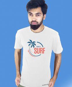 BORN TO SURF প্রিন্টেড কটন গোল গলা টি শার্ট